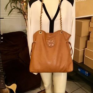 Tory Burch Leather Marion Convertible slouchy Tote